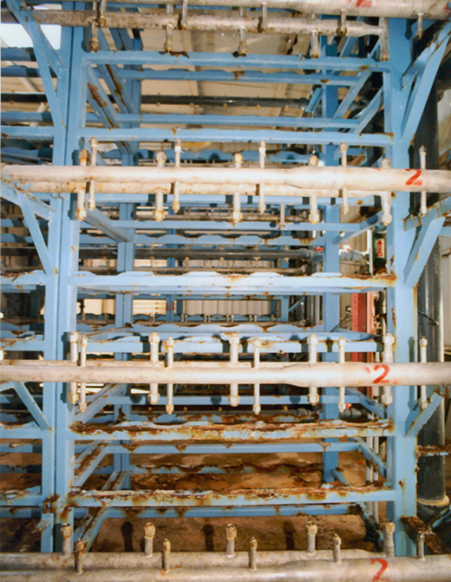 Desalination Seawater Reverse Osmosis System Rusted Old Frame