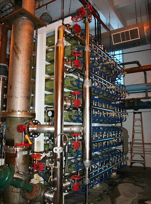 Seawater Reverse Osmosis RO System in a Water Treatment Plant