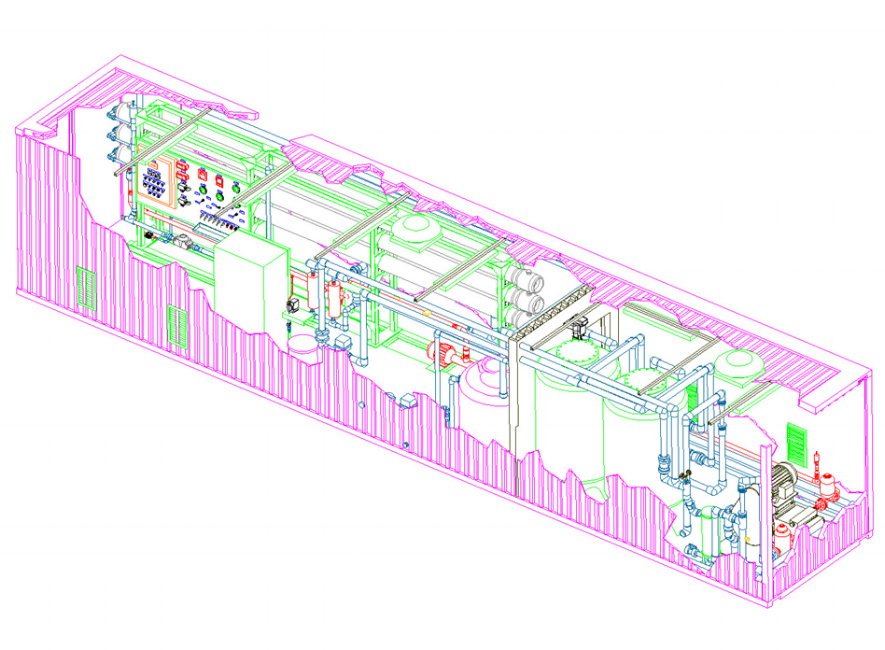 Seawater Desalination Reverse Osmosis RO Pilot System Containerized Unit
