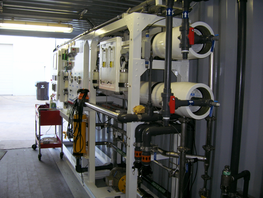 Seawater Reverse Osmosis Pilot System inside a container